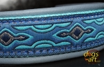 dogs-art Lava Martingale Chain Leather Collar - artic blue/aqua/lava blue