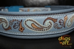 dogs-art Paisley Perfection Easy Release Buckle Leather Collar - arctic blue/brown/paisley blue