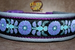 dogs-art Heart Flower Easy Release Buckle Leather Collar - arctic blue/purple/heart flower