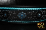 dogs-art Flower Star Martingale Leather Collar - black/aqua/flower star turquoise