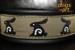 dogs-art Bunnies Martingale Leather Collar - black/black/bunnies
