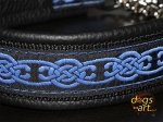 dogs-art Celtic Knot Martingale Chain Leather Collar - black/black/blue