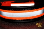 dogs-art Reflective Easy Release Buckle Leather Collar - black/black/orange
