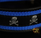 dogs-art Skulls Easy Release Alu Buckle Leather Collar - black/blue/skulls