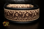 dogs-art Cheetah Martingale Leather Collar - black/brown/cheetah brown