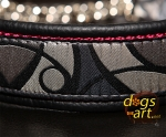 dogs-art Abstract Martingale Chain Leather Collar - black/burgundy/grey