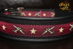 dogs-art Airplane Easy Release Alu Buckle Leather Collar - black/black/airplane burgundy