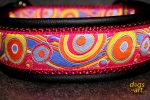 dogs-art Bubbles Martingale Leather Collar - black/burgundy/bubbles