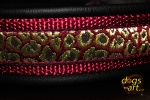 dogs-art Leopard Martingale Leather Collar - black/burgundy/leo burgundy