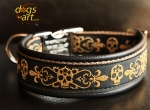 dogs-art Skull Easy Release Alu Buckle Leather Collar - black/camel/skulls gold