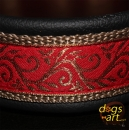 dogs-art Tendril Martingale Leather Collar - black/camel/red-gold