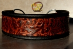 BIG-dog by dogs-art Limited Edition Martingale Chain Leather Collar - black/embossed bronze