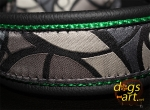 dogs-art Abstract Martingale Leather Collar - black/green/abstract grey
