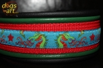dogs-art TWICE Dragons Martingale Leather Collar - black/green/red/dragons
