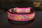 dogs-art Bubbles Easy Release Alu Buckle Leather Collar - black/hot pink/bubbles fuchsia