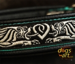 dogs-art Celtic Dragon Martingale Leather Collar - black/peppermint/celtic dragon