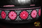 dogs-art Daisy Dot Easy Release Buckle Leather Collar - black/pink/daisy dot pink