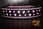 dogs-art Love Martingale Leather Collar - black/pink/love