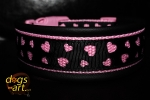 dogs-art LOVE Easy Release Buckle Leather Collar - black/pink/love black