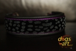 dogs-art Cheetah Martingale Chain Leather Collar - black/purple/cheetah black