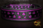 dogs-art Love Martingale Leather Collar - black/purple/love