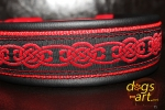 dogs-art Celtic Knot Easy Release Buckle Leather Collar - black/red/red