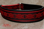 dogs-art Celtic Knot Martingale Leather Collar - black/red/red