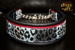 dogs-art Cheetah Martingale Chain Leather Collar - black/red/cheetah blue/grey