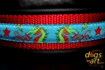 dogs-art Dragons Martingale Chain Leather Collar - black/red/dragons