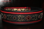 dogs-art Flower Star Martingale Leather Collar - black/red/flower star red