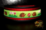 dogs-art Hedgehog Martingale Leather Collar - black/red/hedgehog green