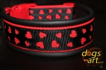 dogs-art LOVE Easy Release Buckle Leather Collar - black/red/love black