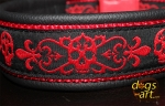 dogs-art Skull Easy Release Buckle Leather Collar - black/red/skull red