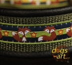dogs-art Fox Martingale Leather Collar - black/sage/fox blue
