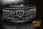 dogs-art Celtic Dragon Martingale Leather Collar - black/silver/celtic dragon