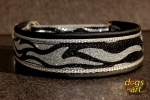 dogs-art Zebra Martingale Leather Collar - black/silver/zebra silver/black