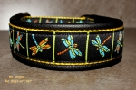 dogs-art Dragonfly Martingale Leather Collar black/yellow/dragonfly