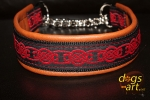 dogs-art Celtic Knot Martingale Chain Leather Collar - brown/black/red