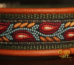 dogs-art Leaves Easy Release Alu Buckle Leather Collar - brown/sage/leaves orange