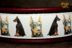 dogs-art Doberman Martingale Chain Leather Collar - burgundy/black/dober