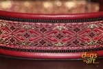 dogs-art Shanoa Martingale Leather Collar - burgundy/black/shanoa