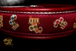 dogs-art Stocking Martingale Leather Collar - burgundy/white/stocking