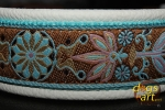 dogs-art Pinwheel Zinnia Easy Release Buckle leather collar - creme/aqua/aqua