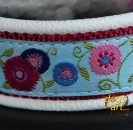 dogs-art Sunshine Flower Martingale Chain Leather Collar - creme/burgundy/sunshine flower blue