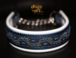 dogs-art Leaves Martingale Chain Leather Collar - creme/dark blue/leaves