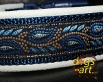 dogs-art Leaves Easy Release Buckle Leather Collar - creme/dark blue/leaves blue