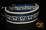 dogs-art Summerfling Easy Release Alu Buckle Leather Collar - creme/darkblue/summerfling