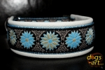 dogs-art Daisy Dot Martingale Leather Collar - creme/light blue/daisy dot blue