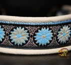 dogs-art Daisy Dot Martingale Chain Leather Collar - creme/light blue/daisy dot blue