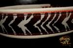 dogs-art Zebra Martingale Leather Collar - creme/orange/zebra brown